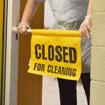 "Picture of HANGING DOOR SIGN - ""CLOSED FOR CLEANING"""
