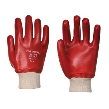 Picture of KNITTED WRIST PVC GLOVES RED - XL
