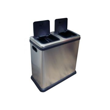 Picture of DOUBLE RECYCLING BIN BRUSHED STEEL - 60 Litre