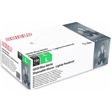 Picture of DISPOSABLE NITRILE POWDERED GLOVES - LARGE (Pack of 100)