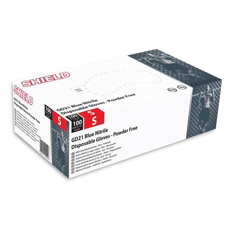 Shield Nitrile Powder Free Gloves Pack Of 100 Gd21