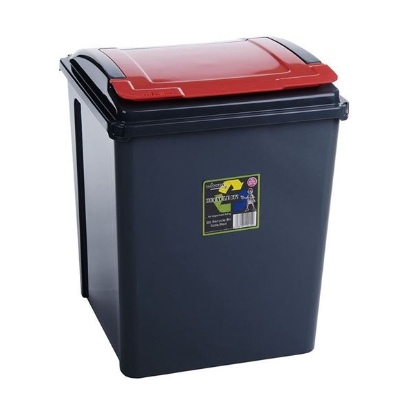 Picture of WHAM 50 LTR RECYCLING BIN WITH LID RED