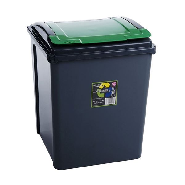 Picture of WHAM 50 LTR RECYCLING BIN WITH LID GREEN