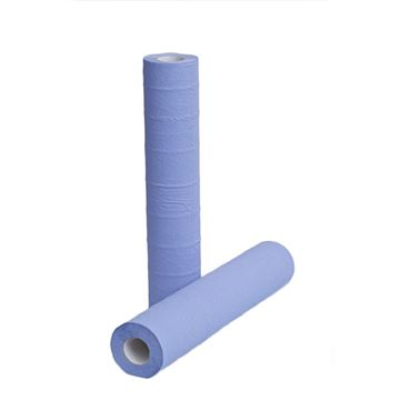 """Picture of 20"""" Blue 2 Ply Hygiene Couch Rolls - Pack of 9"""