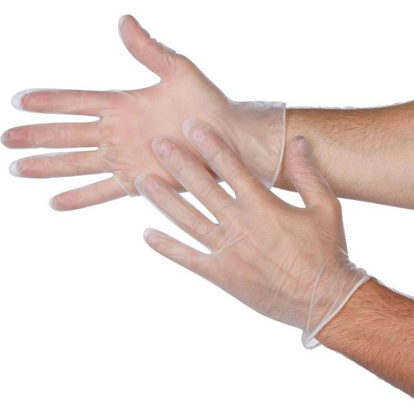 Picture of DISPOSABLE VINYL POWDER FREE GLOVES (Pack of 100)