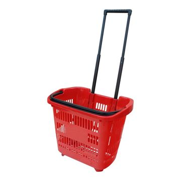 Picture of PULL ALONG SHOPPING CART BASKET RED
