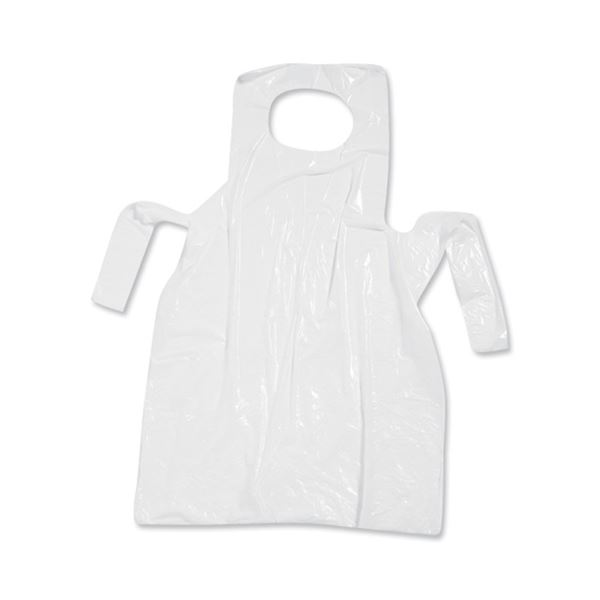 Picture of PLASTIC DISPOSABLE APRONS WHITE (Pack of 100)